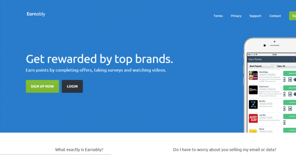 earnably home page, earnably