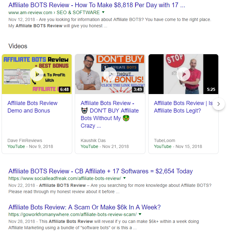 affiliate bot review search results, google search results
