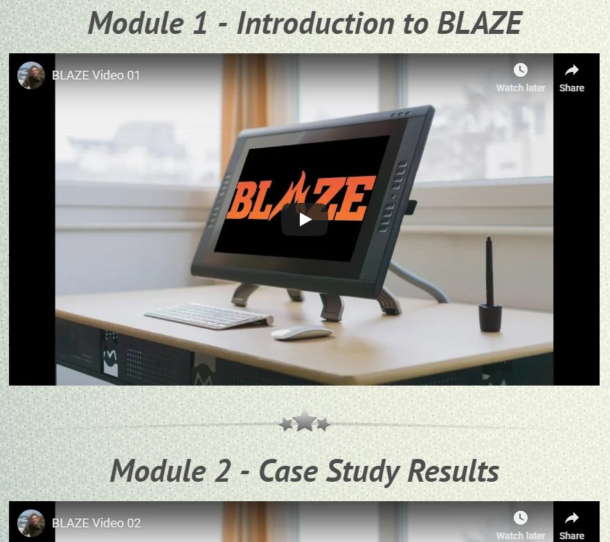 blaze modules, blaze dashboard, blaze module 1