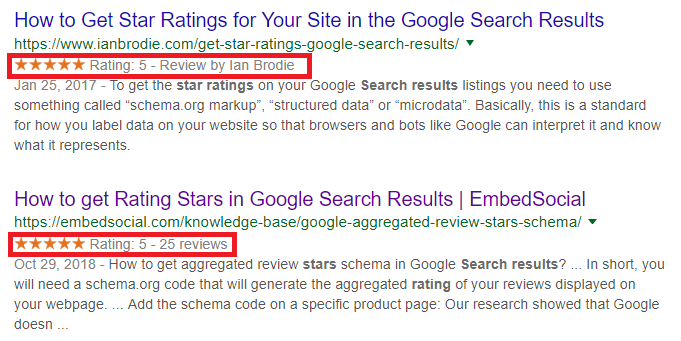 google search star ratings, star ratings in search results