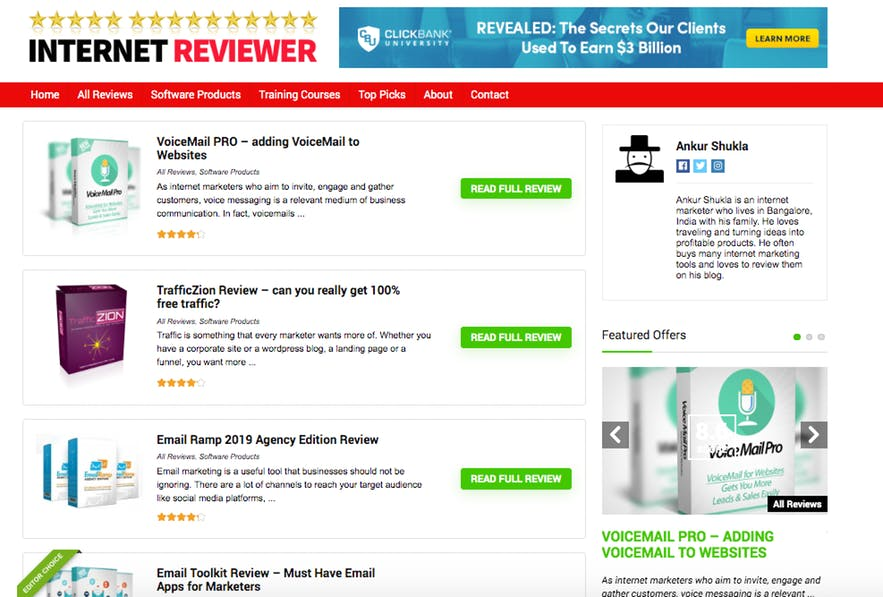 example affiliate review site