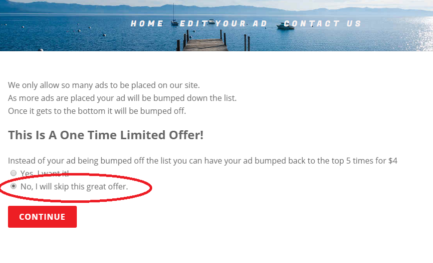 submit ad instructions, ad submission screenshot