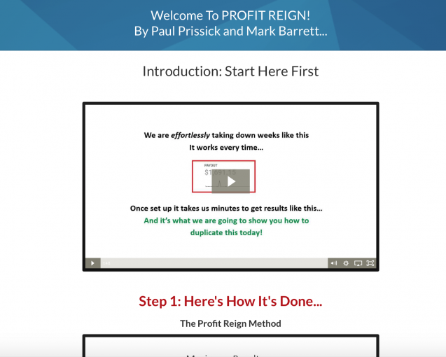 profit reign dashboard, profit reign look inside