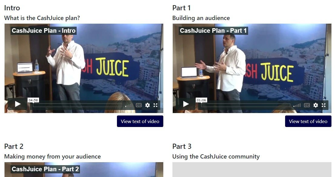 cashjuice the plan, the plan videos