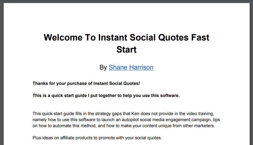 Instant Social Quotes Fast Start Guide