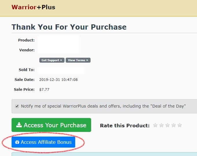 warriorplus receipt bonus location